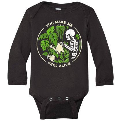 You Make Me Feel Alive - Halloween Skull Long Sleeve Baby Bodysuit Designed By Mrt90