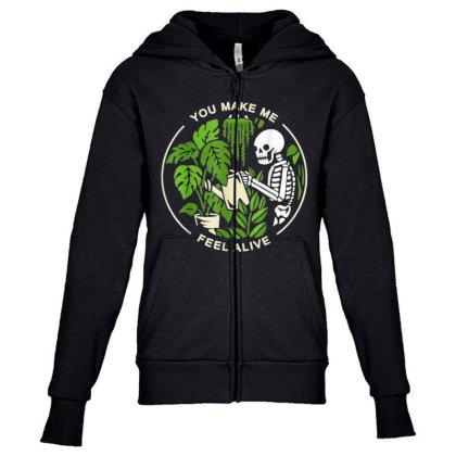 You Make Me Feel Alive - Halloween Skull Youth Zipper Hoodie Designed By Mrt90