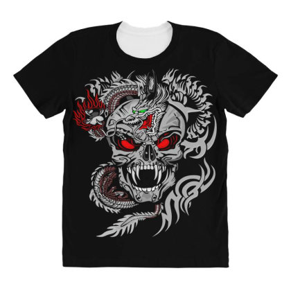 Devil Head All Over Women's T-shirt Designed By Chiks