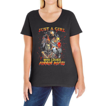 Just A Girl Who Loves Horror Movies Halloween Ladies Curvy T-shirt Designed By Mrt90