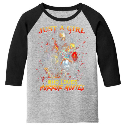 Just A Girl Who Loves Horror Movies Halloween Youth 3/4 Sleeve Designed By Mrt90