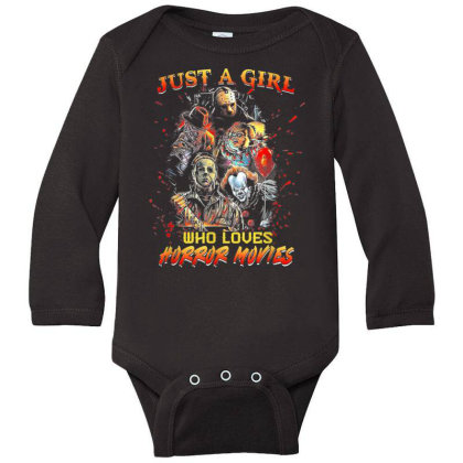 Just A Girl Who Loves Horror Movies Halloween Long Sleeve Baby Bodysuit Designed By Mrt90