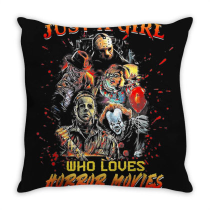Just A Girl Who Loves Horror Movies Halloween Throw Pillow Designed By Mrt90