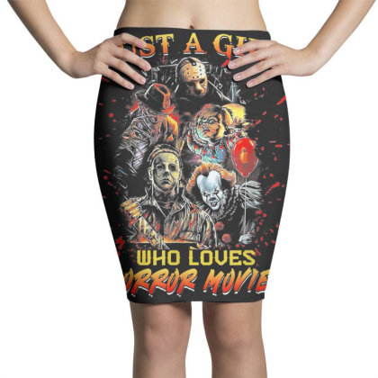 Just A Girl Who Loves Horror Movies Halloween Pencil Skirts Designed By Mrt90