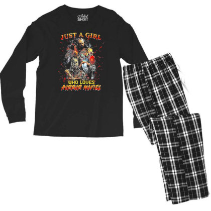 Just A Girl Who Loves Horror Movies Halloween Men's Long Sleeve Pajama Set Designed By Mrt90