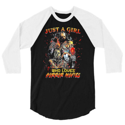Just A Girl Who Loves Horror Movies Halloween 3/4 Sleeve Shirt Designed By Mrt90