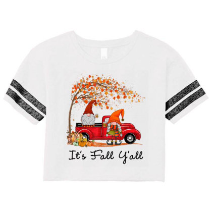 It's Fall Y'all Cute Gnomes Pumpkin Autumn Tree Fall Leaves Scorecard Crop Tee Designed By Mrt90
