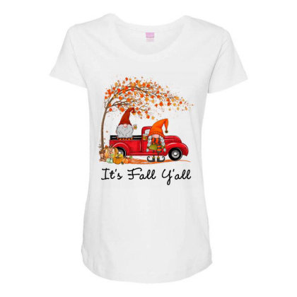 It's Fall Y'all Cute Gnomes Pumpkin Autumn Tree Fall Leaves Maternity Scoop Neck T-shirt Designed By Mrt90
