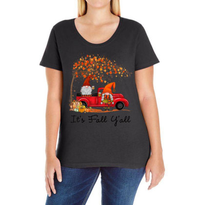It's Fall Y'all Cute Gnomes Pumpkin Autumn Tree Fall Leaves Ladies Curvy T-shirt Designed By Mrt90
