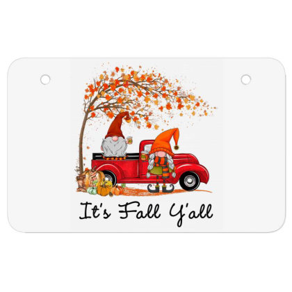 It's Fall Y'all Cute Gnomes Pumpkin Autumn Tree Fall Leaves Atv License Plate Designed By Mrt90