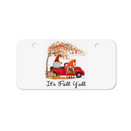It's Fall Y'all Cute Gnomes Pumpkin Autumn Tree Fall Leaves Bicycle License Plate Designed By Mrt90