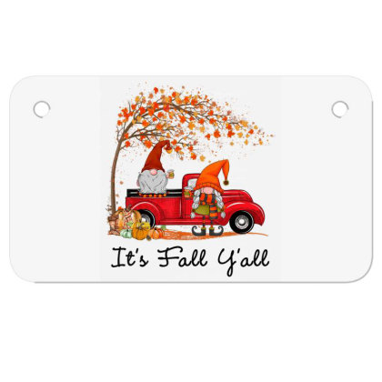 It's Fall Y'all Cute Gnomes Pumpkin Autumn Tree Fall Leaves Motorcycle License Plate Designed By Mrt90