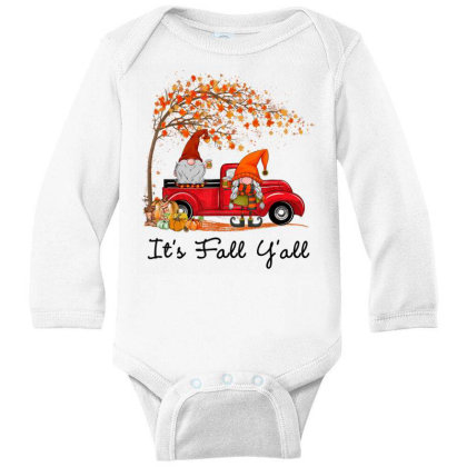 It's Fall Y'all Cute Gnomes Pumpkin Autumn Tree Fall Leaves Long Sleeve Baby Bodysuit Designed By Mrt90