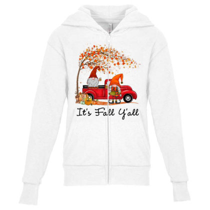 It's Fall Y'all Cute Gnomes Pumpkin Autumn Tree Fall Leaves Youth Zipper Hoodie Designed By Mrt90