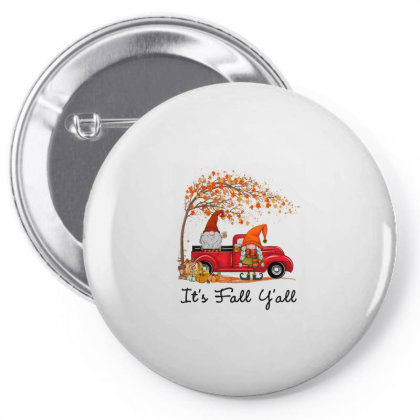 It's Fall Y'all Cute Gnomes Pumpkin Autumn Tree Fall Leaves Pin-back Button Designed By Mrt90