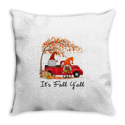 It's Fall Y'all Cute Gnomes Pumpkin Autumn Tree Fall Leaves Throw Pillow Designed By Mrt90