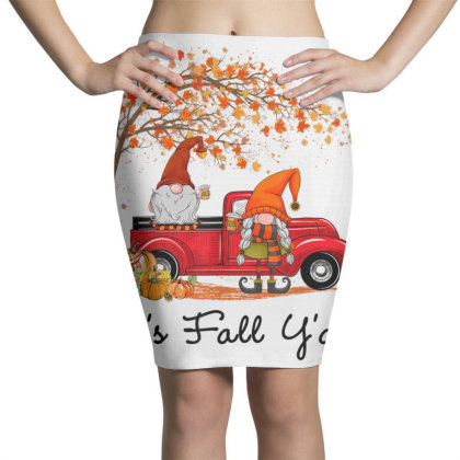 It's Fall Y'all Cute Gnomes Pumpkin Autumn Tree Fall Leaves Pencil Skirts Designed By Mrt90