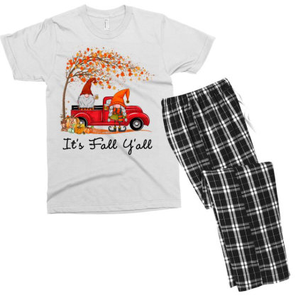It's Fall Y'all Cute Gnomes Pumpkin Autumn Tree Fall Leaves Men's T-shirt Pajama Set Designed By Mrt90