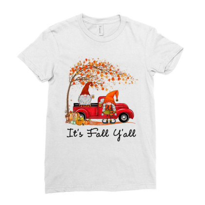 It's Fall Y'all Cute Gnomes Pumpkin Autumn Tree Fall Leaves Ladies Fitted T-shirt Designed By Mrt90
