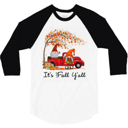It's Fall Y'all Cute Gnomes Pumpkin Autumn Tree Fall Leaves 3/4 Sleeve Shirt Designed By Mrt90