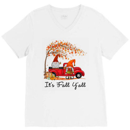 It's Fall Y'all Cute Gnomes Pumpkin Autumn Tree Fall Leaves V-neck Tee Designed By Mrt90