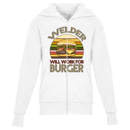Welder Wıll Work For Burger Youth Zipper Hoodie Designed By Bettercallsaul