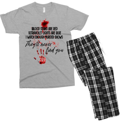 Blood Stains Are Red Ultraviolet Lights Are Blue Hand Blood Men's T-shirt Pajama Set Designed By Mrt90