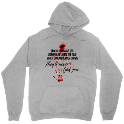 Blood Stains Are Red Ultraviolet Lights Are Blue Hand Blood Unisex Hoodie Designed By Mrt90