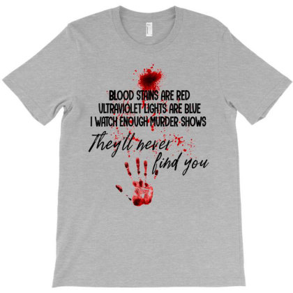 Blood Stains Are Red Ultraviolet Lights Are Blue Hand Blood T-shirt Designed By Mrt90