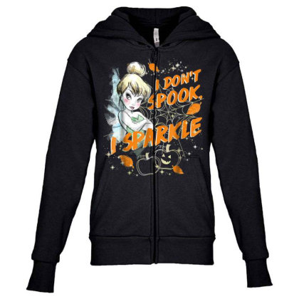 Peter Pan Tinkerbell Halloween Sparkle Youth Zipper Hoodie Designed By Schulz-12