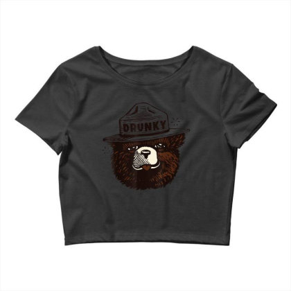 Drunky The Bear Crop Top Designed By Mrt90