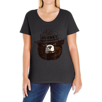 Drunky The Bear Ladies Curvy T-shirt Designed By Mrt90