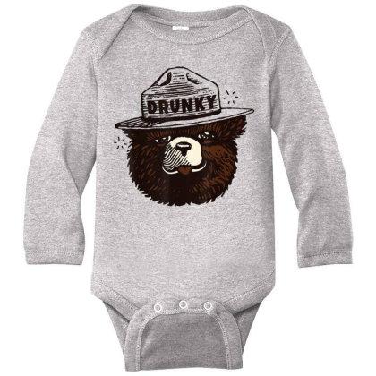 Drunky The Bear Long Sleeve Baby Bodysuit Designed By Mrt90