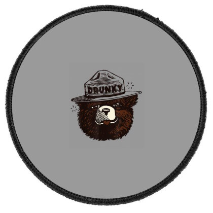 Drunky The Bear Round Patch Designed By Mrt90