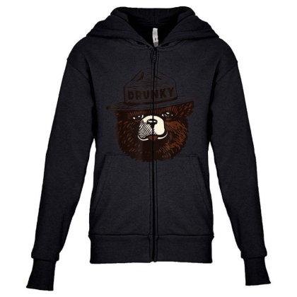 Drunky The Bear Youth Zipper Hoodie Designed By Mrt90
