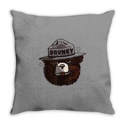 Drunky The Bear Throw Pillow Designed By Mrt90
