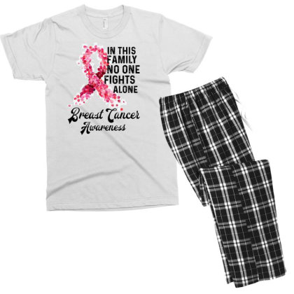In This Family Fights Alone Breast Cancer Awareness Men's T-shirt Pajama Set Designed By Bettercallsaul