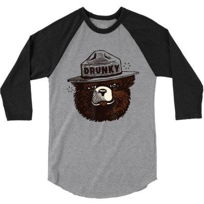 Drunky The Bear 3/4 Sleeve Shirt Designed By Mrt90