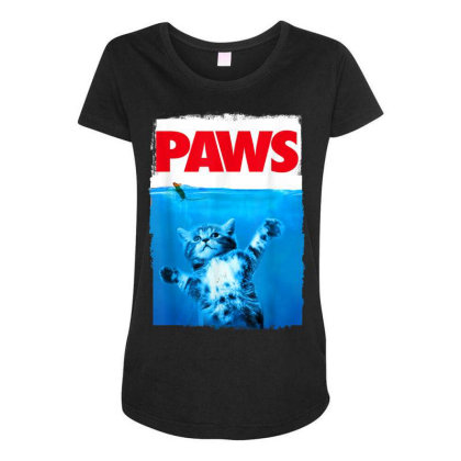 Paws Cat And Mouse Top, Cute Funny Cat Lover Parody Maternity Scoop Neck T-shirt Designed By Schulz-12