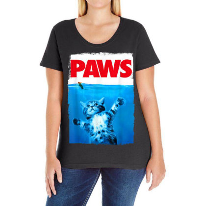 Paws Cat And Mouse Top, Cute Funny Cat Lover Parody Ladies Curvy T-shirt Designed By Schulz-12