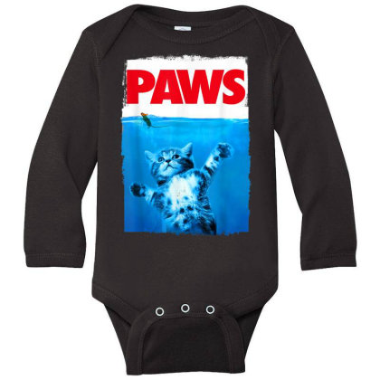 Paws Cat And Mouse Top, Cute Funny Cat Lover Parody Long Sleeve Baby Bodysuit Designed By Schulz-12
