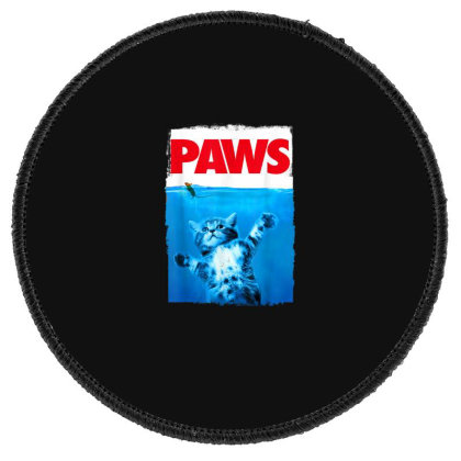 Paws Cat And Mouse Top, Cute Funny Cat Lover Parody Round Patch Designed By Schulz-12