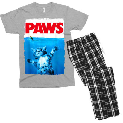 Paws Cat And Mouse Top, Cute Funny Cat Lover Parody Men's T-shirt Pajama Set Designed By Schulz-12