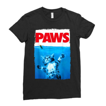 Paws Cat And Mouse Top, Cute Funny Cat Lover Parody Ladies Fitted T-shirt Designed By Schulz-12