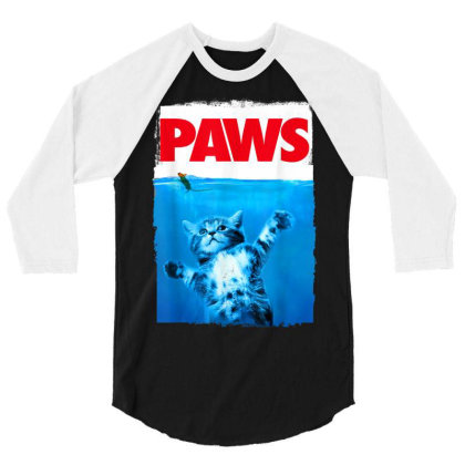 Paws Cat And Mouse Top, Cute Funny Cat Lover Parody 3/4 Sleeve Shirt Designed By Schulz-12