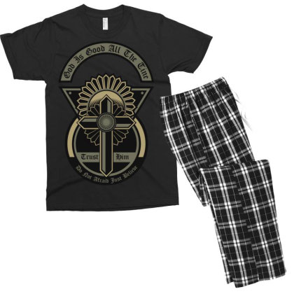 God Is Good All The Time Men's T-shirt Pajama Set Designed By Chiks