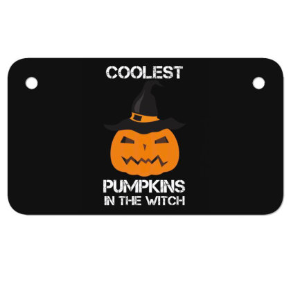 Coolest Pumpkin In The Witch Halloween Motorcycle License Plate Designed By Amber Petty