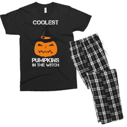 Coolest Pumpkin In The Witch Halloween Men's T-shirt Pajama Set Designed By Amber Petty