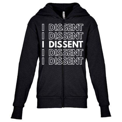I Dissent White Youth Zipper Hoodie Designed By Fahmifutri
