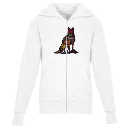 Don't Be Afraid Just Believe Youth Zipper Hoodie Designed By Chiks
